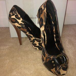 Jessica Simpson leopard fabric heels